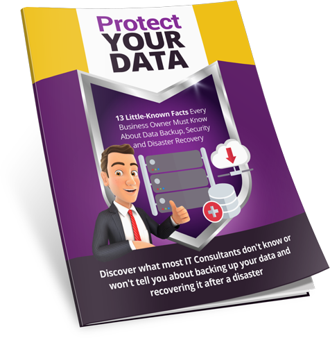 Image of Free Report includes small business owner with thumbs up in front of his critical data storage and backup systems.