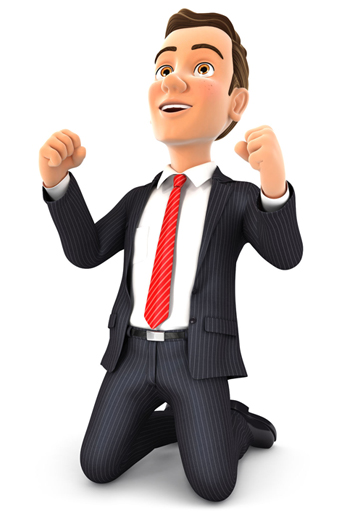 Business executive super excited that his computer network support Portland problems have been resolved.