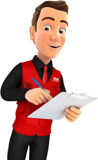 IT consultant with red shirt and clipboard ready to discuss your IT problems.