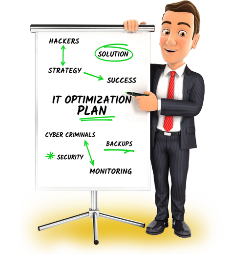 IT Manager standing next to whiteboard showing an IT optimization plan for small businesses looking for IT companies in Portland Oregon.
