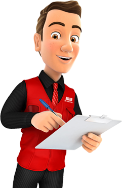 IT Support engineer wearing a red vest with clipboard is writing down your information.