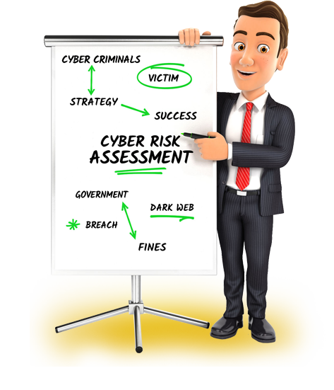 IT manager standing next to whiteboard showing a FREE Cyber Security Risk Assessment that should be done at your Portland business to make sure you are protected.