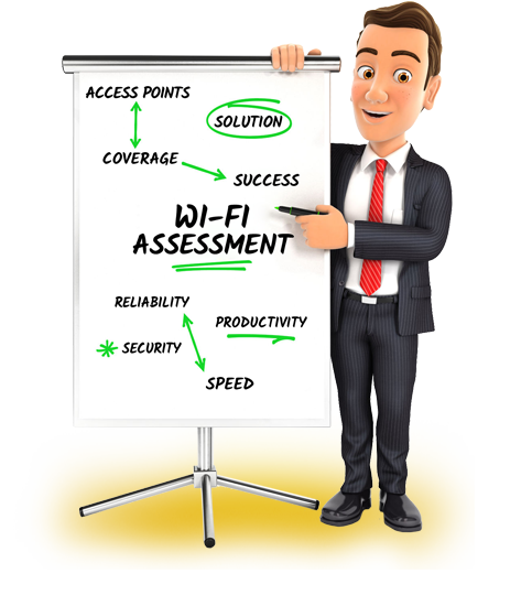 IT manager standing next to whiteboard showing a FREE WiFi Assessment to make sure you receive 100% Fast and Reliable business WiFi solutions for your entire business.