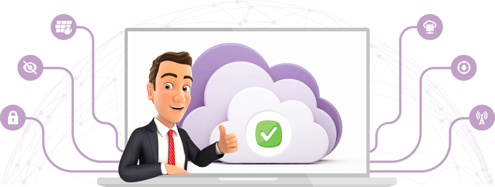 Business man in cloud and happy with cloud services provider and his own private cloud server.