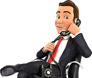 Business manager happily talking on free VoIP phone system in Portland Oregon