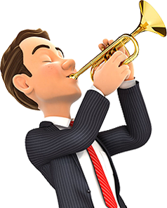 Portland executive blowing a trumpet with joy because 24x7 IT Solutions has a team and not a one-man band