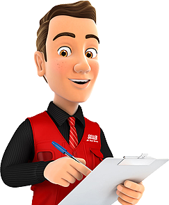 IT Services technician in red service vest with clipboard ready in 7 minutes or less to discover what IT issues are plaguing your business.